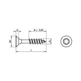 91350204.5*30, 4,5X30/18, Senkkopf-Spanplattenschrauben mit TX-Antrieb Teilgewinde